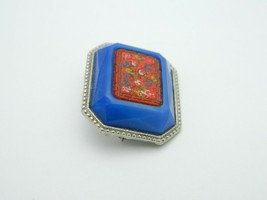Enamel Inlay Cinnabar Floral Flower Blue Art Glass Silver Tone VTG Pin Brooch image 2