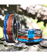 Couples His Her 3 piece Wedding Band Set Opal Koa Wood Steel Silver Enga... - $159.99
