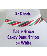 CANDY CANE STRIPES Choker 3/8 inch 10 mm wide Christmas Red Green White ... - $5.25