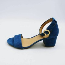 Michael Kors Womens Ankle Strap Sandals Blue Buckle Block Heels Leather ... - $49.49