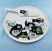 VINTAGE CHRISTMAS CATS CAKE PLATE & MATCHING SERVING KNIFE - $23.72