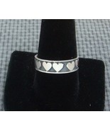 AWESOME TWO TONE STERLING SILVER HEART BAND THUMB RING SIZE 10 BEAUTIFUL... - $24.95