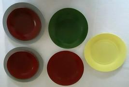 PLATONITE OVIDE by HAZEL ATLAS (5) Dinner Plates (2) Sandwich Plates Vin... - $14.85