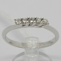 White Gold Ring 750 18K, Veretta with 5 Diamonds, Carat 0.20, Made in Italy image 2