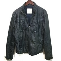 ZARA MAN Motorcycle Faux Leather Dark Blue Biker Jacket Blue Stitching, Men's XL - $54.45
