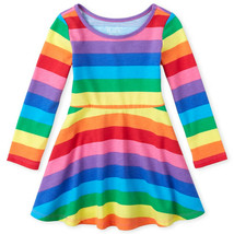 NWT The Childrens Place Rainbow Striped Girls Long Sleeve Dress 2T 3T 4T 5T - $10.99