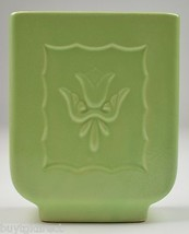 """Vintage Pottery Planter Lime Green Floral Pattern 6.25"""" Tall Collectible... - $15.99"""