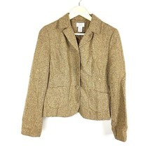 Ann Taylor Loft Women's Sz 8 Brown Blazer Jacket Silk Wool Blend Tweed (... - $10.79