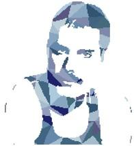 Counted Cross Stitch pattern Freddie Mercury singer 146x165 stitches BN1442 - $3.99