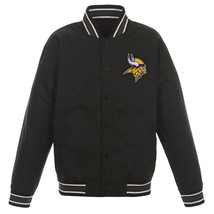 NFL Minnesota Vikings Poly Twill Jacket Black  With One Patch Logo  JH Design - $99.99