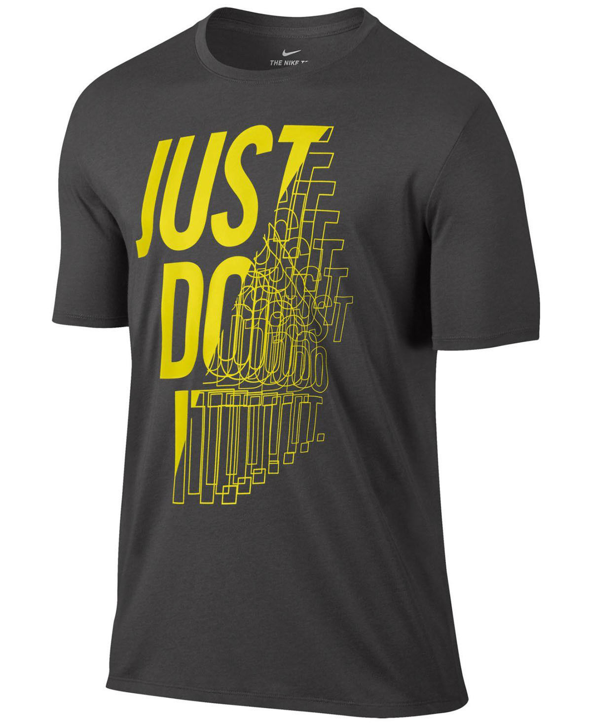 NEW MENS NIKE DRI-FIT CREW NECK JUST DO IT GRAPHIC GREY T SHIRT TEE L