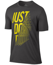 New Mens Nike DRI-FIT Crew Neck Just Do It Graphic Grey T Shirt Tee L - $24.74