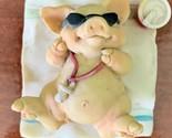 Vintage Pigsville Ganz Pig Figurine Beach Time Sunglasses Drink Vacation 1992