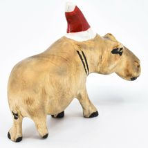 Hand Carved & Painted Jacaranda Wood Santa Hat Hippopotamus Christmas Figurine image 4