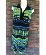 Saint Tropez West Sleeveless Dress Size 6 Black Blue Green Sundress Shif... - $19.60