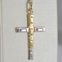Pendentif Croix or Jaune Blanc 750 18K, Rectangles, Satin, Fabriqué en Italie image 1