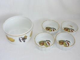 Royal Worcester Evesham Souffle Dish + 4 individual Dessert Quiche Bowls Fluted - $41.57