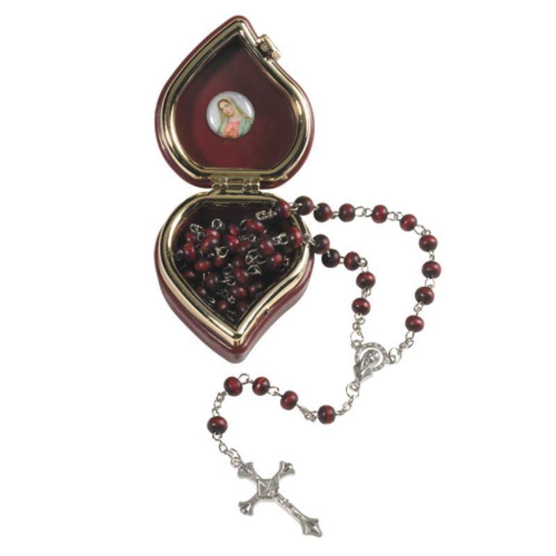 Primary image for Madonna: Rose Scented Rosary with Heart Shape Case