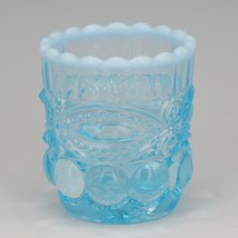 Vintage Glass Toothpick Moser USA Blue Opalescent with Logo image 1
