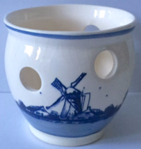 Delfte Blauw Candle Holder Handpainted Holland Made Sailboat Windmill De... - $17.81