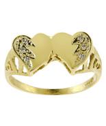 0.06 Carat Round Cut Diamond Double Heart Ring 14K Yellow Gold - $177.21