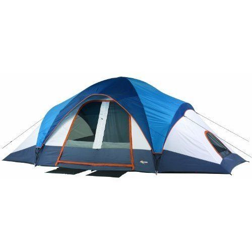 Two Room Dome Tent 10 Person Capacity 170 square ft Sleep Area Mesh Vents Window