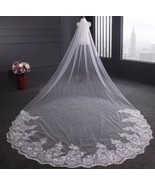 White 13 Foot Cathedral Veil With Comb - $37.62