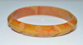 VTG Butterscotch Yellow Red End of Days Swirl BAKELITE Carved Bangle Bra... - $198.00