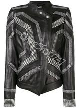 New Women Philip Plein Full Rhine Stones Studded Unique Design Leather Jacket - $349.99