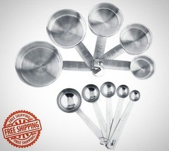 Stainless Steel Measuring Cups And Measuring Spoons 10 Piece Set Brand New - $14.92