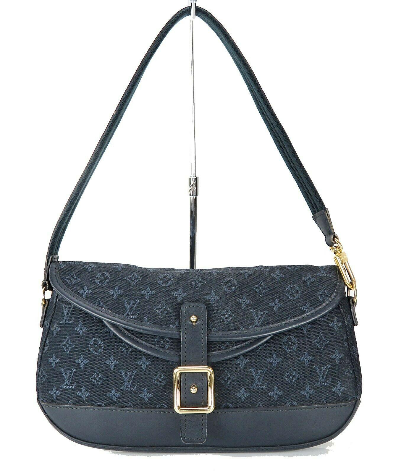 Authentic LOUIS VUITTON Marjorie Blue Monogram Mini Lin Shoulder Bag #34709