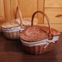 Wicker Camping Picnic Basket Handmade Storage Food Bread Box Willow Stra... - $457,04 MXN+