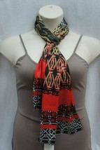 Anne Klein Poly Chiffon Scarf Poppy Red Black Multi Geometic 13x68 Suit ... - $24.18