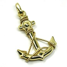 "18K YELLOW GOLD NAUTICAL BIG ANCHOR ROUNDED PENDANT, LENGHT 3 CM, 1.2"" image 2"