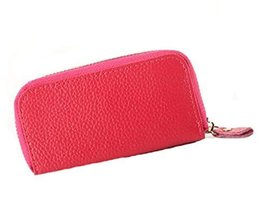 Multifunctional Key Bag Printing High Capacity Straight Zipper Key Case,Rose Red