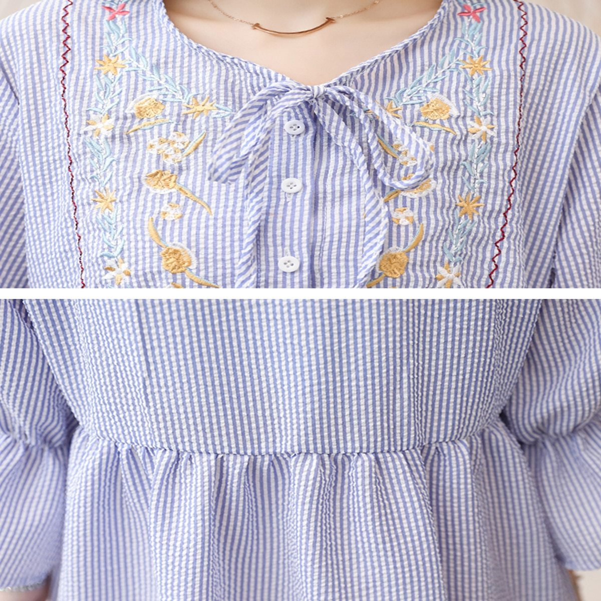 Maternity's Dress Fashion Long Sleeve Embroidery Pattern Loose Dress image 5