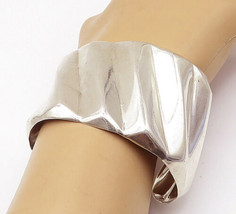 MEXICO 925 Sterling Silver - Vintage Shiny Fluted Wide Cuff Bracelet - B... - $158.20