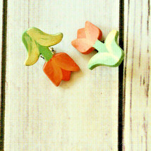 vintage painted red tulip flower clip earrings kitschy kitsch - $14.84