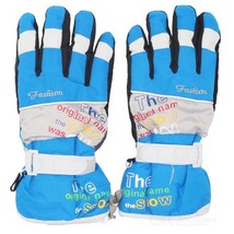 Outdoor Sports Skiing Warm Taslan + Cotton Full-Finger Gloves - Blue - $20.26 CAD