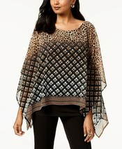 JM Collection WOMEN'S  Printed Poncho,CANDACE PLAID SIZE MEDIUM MSRP$54.50 - $15.84