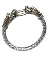 Silver Men Bracelets Dragon PU Leather Silver Animal Chinese Zodiac  - $10.00