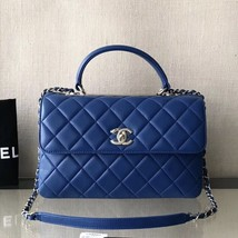 AUTH CHANEL 2019 BLUE MEDIUM QUILTED LAMBSKIN TRENDY CC 2 WAY HANDLE FLAP BAG