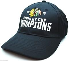 Chicago Blackhawks - 2013 Stanley Cup Champions Hockey Cap Hat - OSFM - Black - $17.09