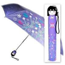KOKESHI DOLL UMBRELLA Purple Folding w Hard Case Geisha Girl Japanese La... - $14.88