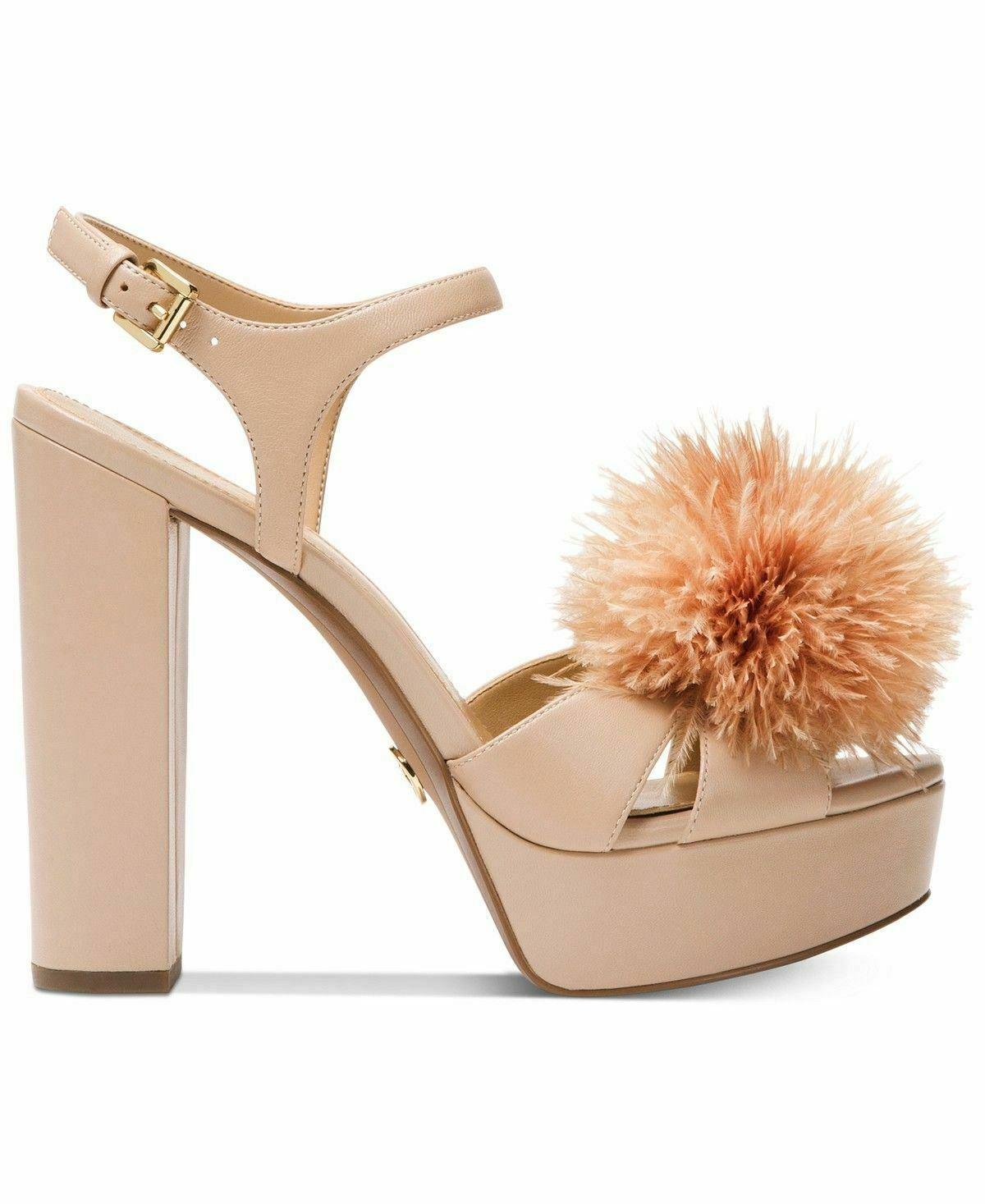MICHAEL Michael Kors womens Fara Platform Sandals size 9M Color Oyster heels NWB image 4