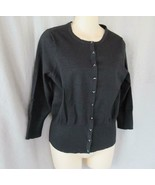 Josephine Chaus sweater cardigan M/S black silk blend 3/4 sleeves - $12.69