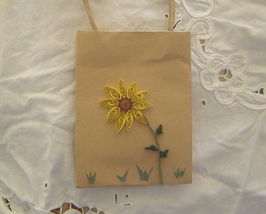 Gift bag with handcrafted paper quilled sunflower  - $9.99