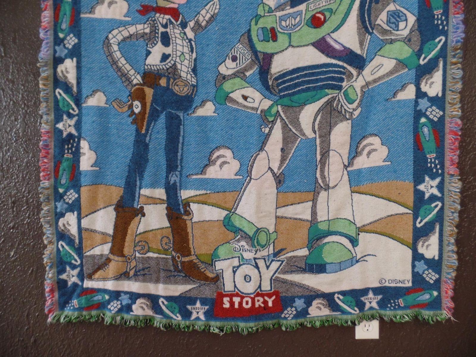 Disney Toy Story Blanket 56x48 Woody Buzz Lightyear Woven