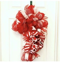 Candy cane wreath, candy cane deco mesh wreath, christmas wreath, rustic... - $41.71