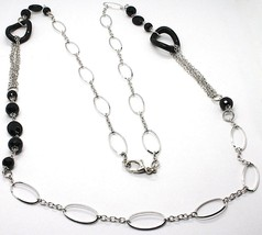 Necklace Silver 925, Onyx Black Wavy, Length 115 cm, Chain Oval image 2
